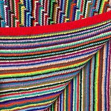 Hand Crochet Farmhouse Afghan Lap Blanket Throw Geometric Retro Stripe Fringed
