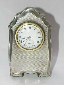 ANTIQUE SOLID SILVER STERLING MOUNTED CLOCK, EASEL CLOCK, DESK CLOCK, B'HAM 1919