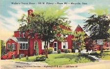 MARYVILLE, TN  Tennessee  WALKER'S TOURIST HOME  Roadside c1940's Linen Postcard