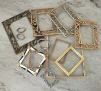 Vintage Metal PICTURE FRAME Lot Recycle Crafts Project Deco gold ornate scroll