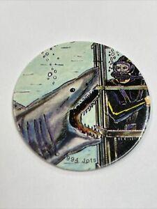 Shark & Diver Cage Milk Cap - Vintage Jots USA Pogs - Blue Back - 1994 Pog