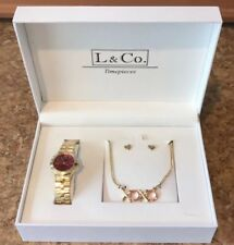 Gold Watch, Gold Necklace, & Heart Stud Earrings Set w Pink accents *BRAND NEW*