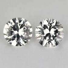 First QualityAAA Earing Pair Natural Round 5mm Ceylon White Sapphire Diamond Cut