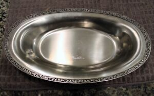 Vintage Monterey HollowWare Platter Stainless Steel Serving Dish Black Scrolls