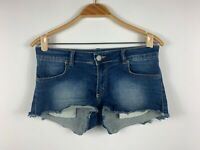 Y London Womens Shorts Size 12 With Pockets Very Short Length Blue Denim