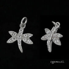 1PC Rhodium Plated Sterling Silver CZ Dragonfly Charm Pendant Bead #97991