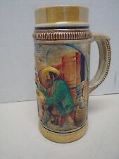 Western Germany Beer Stein Drinking Mug 1 L Marked Ein Frischer Trun Pub Scene