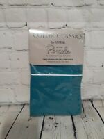 VTG Color Classics By Stevens Percale Aqua 2 Standard Size Pillowcases 20x30