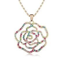 18K Gold GP Made With Swarovski Crystal Colorful Hollow Out Rose Long Necklace