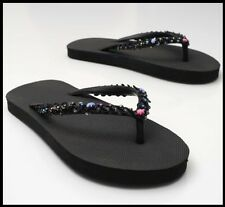 THONGS Sandal Flip-Flops *Size:6,7,8* BLACK Womens Girls Rubber Decorated SEQUIN