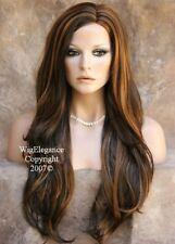 EXTRA LONG Full Wig Brown Strawberry Blonde MIX SKIN TOP WAVY JSCO 4-27
