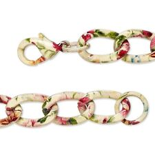 Flower Pattern Twisted Curb Link Chain Bracelet 7 1/2 inches Long with Big Links