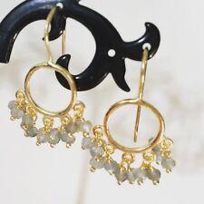 18K Gold Sterling Silver Hoop Circle Labradorite Beads Drop Earrings Gemstones