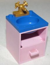 LEGO PINK BATHROOM SINK SET UP BLUE TOP CUPBOARD AND GOLD FAUCET