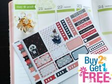 PP472D -- Red Black Fashion Girl Samples Planner Stickers for Erin Condren 28pcs