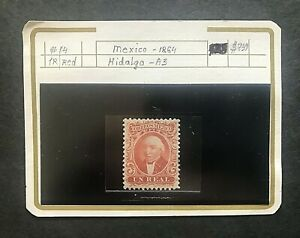 STAMP MEXICO 1864#14-RED 1/UN/REAL MEXICO 1864CV$750 PERF. HINGED GUM MINT#01655