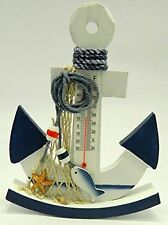 New Wooden Nautical Anchor Shaped With Fish Thermometer Design Ornament C-50
