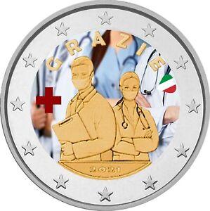 2 Euro Gedenkmünze Italien 2021 coloriert  mit Farbe / Farbmünze Medizinisches P