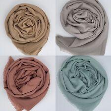 Premium Quality Cotton Silk Maxi Plain Scarf Hijab Sarong Large Frayed Edge