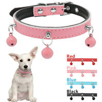 Puppy Cat Dog Collar Soft Padded Leather with Bell For Small Dogs Chihuahua XS-M