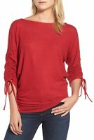 Gibson 163992 Women's Cozy Boat Neck Tie Sleeve Casual Top Solid Red Sz. XXL