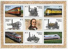 Maldives 1996 MNH Trains 9v M/S II Railways Isambard Kingdom Brunel Stamps