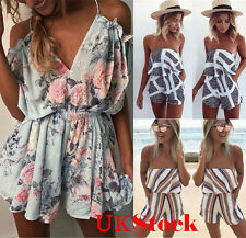 UK New Womens Mini Playsuit Jumpsuit Ladies Summer Beach Holiday Dress Size 6-20