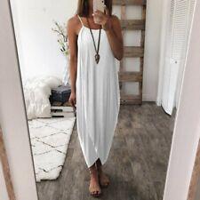 Boho Women Sexy Sleeveless Loose Long Dress Summer Cocktail Party Beach Sundress
