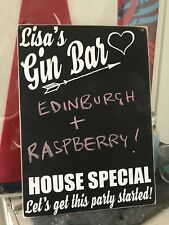 Personalised Gin Bar Drink Novelty Gift Wooden Hanging Plaque Sign Chalk Board