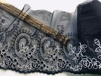 """Black & White Floral Embroidered Lace Trim for Sewing/ Crafts/ Bridal/8 """" Wide"""