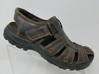 Ecco Mens Fisherman Sandal Size 41 7 7.5 Brown Leather Summer Shoe
