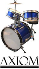Axiom Childrens Drum Kit Mini Junior Drum Set 3 Piece Blue Kids Drums