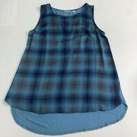 Halogen Tunic Top Blouse Women's L Blue Gray High Low Knit Back Sleeveless