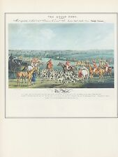 """1974 Vintage HUNTING """"THE QUORN HUNT: THE MEET"""" ASHBY PASTURE COLOR Lithograph"""