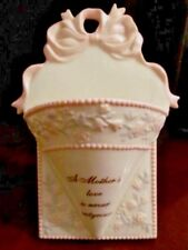 "Vintage Estate Porcelain Wall Pocket- ""A Mothers Love is Never Outgrown"" - EUC"