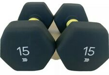 All In Motion Neoprene Dumbbells 2x15lb, Pair of Hand Weights 30 lb Total Weight