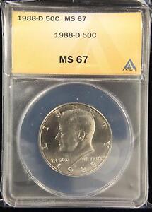 1988-D KENNEDY HALF DOLLAR SUPERB GEM UNC ANACS MS67 US COIN (262)