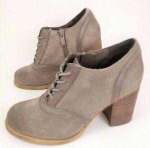 Sbicca Women 7 Ankle Bootie Boots Vintage Collection Gray Suede Block Heel EUC