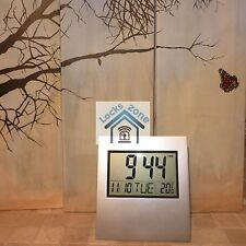 Nice Large LCD Digital Silver Clock Alarm Calender Temperature Office Desk Wall