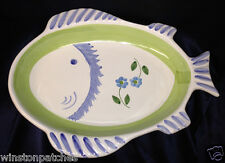 """CALECA GRECA ITALY 15"""" FISH PLATTER BLUE & GREEN WITH BLUE FLOWERS SHALLOW BOWL"""