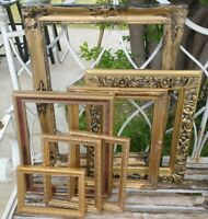 Vintage 7 pc Lot Gold Ornate PICTURE FRAME Recycle Art Craft Deco Estate Sale