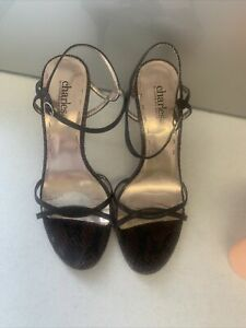 Sz 38.5 Sz 7.5 CHARLES DAVID Dark Brown Leather  Slim Strap Stiletto Heels