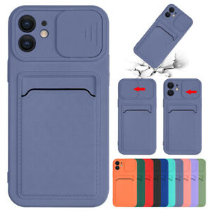 Case For iPhone 11 12 Pro Max XS XR 8 7+ Silicone Wallet Card Holder Slim Cover