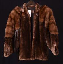 RARE VTG Claude Montana Sheared Beaver & Mink Fur Fringe Jacket Coat w/ Hood !