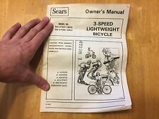 Vintage Sears 3 Speed Lightweight Bicycles Owners Manual - Service Manual