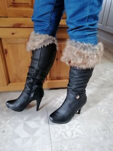 Ladies Faux Leather Knee boots Size UK6