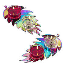 PARTYLITE Rainbow Noir Double Tealight Holder Pair    ***BRAND NEW IN BOX***