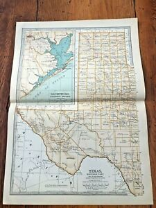 "1903 large colour fold out map titled "" texas - western part """