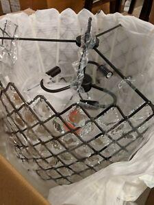 """Pottery Barn Arden Crystal Hoop Chandelier, Bronze, 30"""" diameter"""