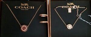 Coach Rosegold Jewelry Set Strand Necklace, Bracelet & Earrings F54497